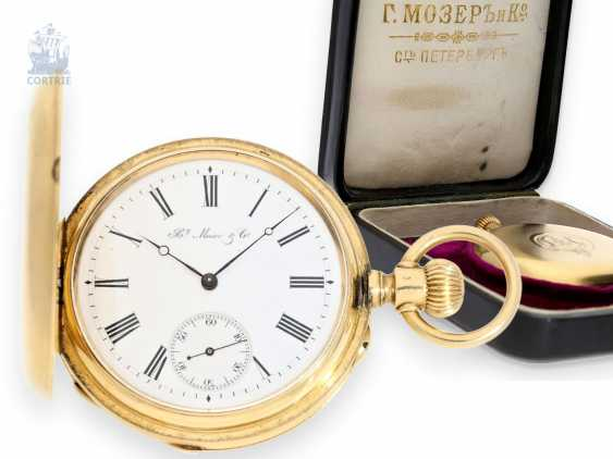 Pocket watch: a particularly heavy, high, fine Anchor chronometer, watchmaker to the court of the Tsar of Russia, Henry Moser No. 95776, 1885, with original box - photo 1