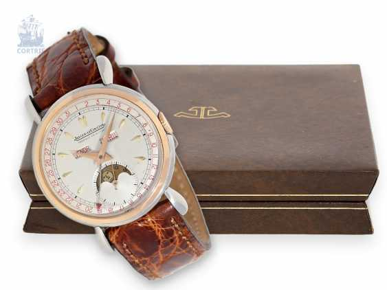 Watch: very beautiful and extremely rare Jaeger Le Coultre calendar watch with moon phase rose gold/stainless steel, CA. 1945 with original box - photo 1