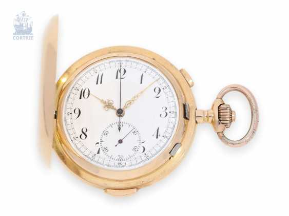 Pocket watch: rare, heavy red-gold Savonnette minute repeater and Chronograph, Carl Mazeck Hanover, 1900 - photo 1