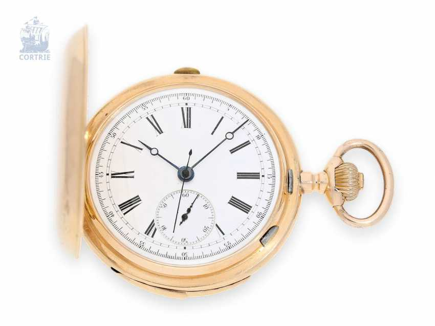 Pocket watch: interesting, especially heavy, and large gold savonnette minute repeater and Chronograph, Alfred Lugrin/Lemania, around 1900 - photo 1