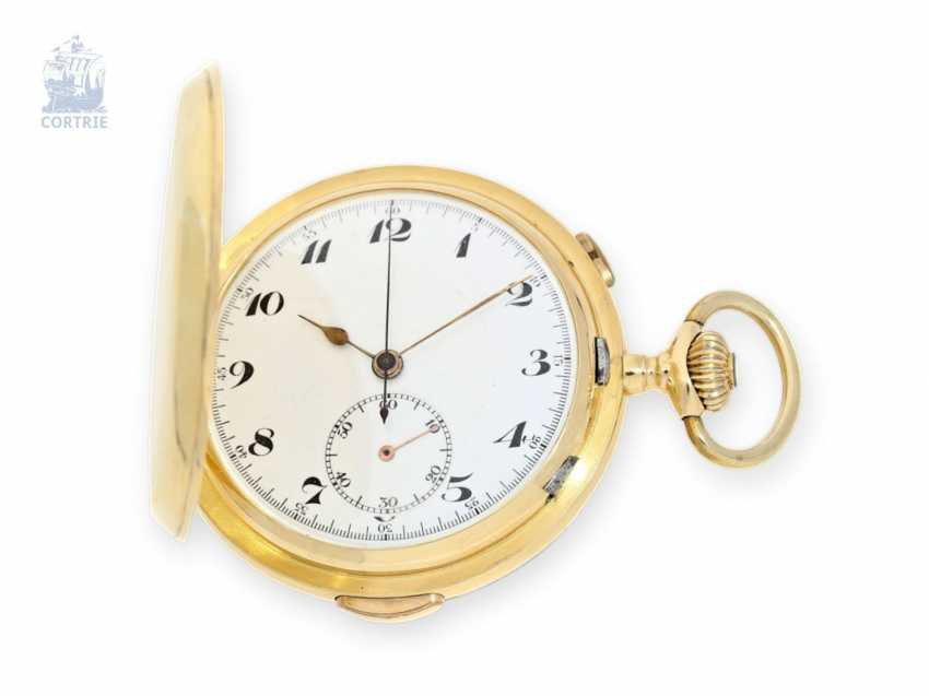 Pocket watch: big 18K Gold Savonnette with minute Repetition and Chronograph, Switzerland, around 1910 - photo 1
