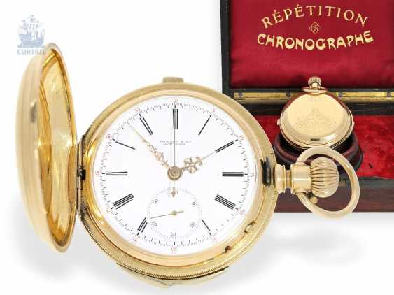 Pocket watch: especially heavy gold savonnette minute repeater and Chronograph, signed Tiffany & co. New York, CA. 1880 - photo 1