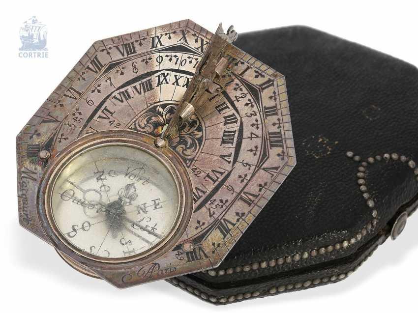 Sundial: very rare, Museum-like Equatorial sundial Butterfield dial, Macquart, Paris, around 1730, with original case - photo 1