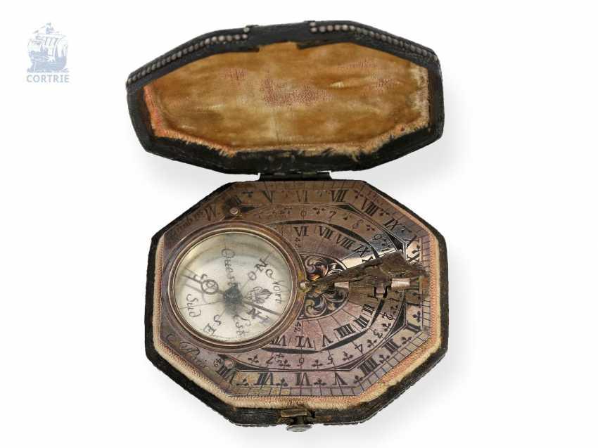 Sundial: very rare, Museum-like Equatorial sundial Butterfield dial, Macquart, Paris, around 1730, with original case - photo 5