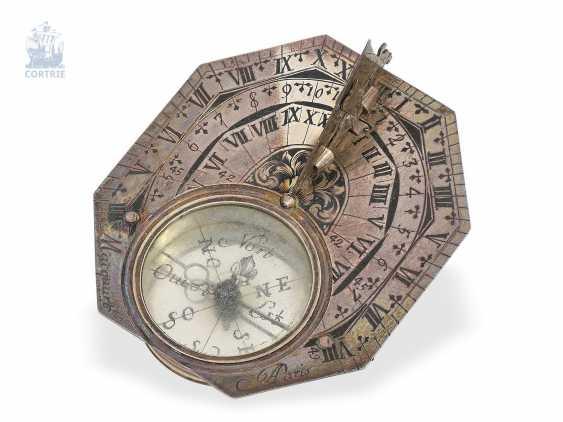 Sundial: very rare, Museum-like Equatorial sundial Butterfield dial, Macquart, Paris, around 1730, with original case - photo 6