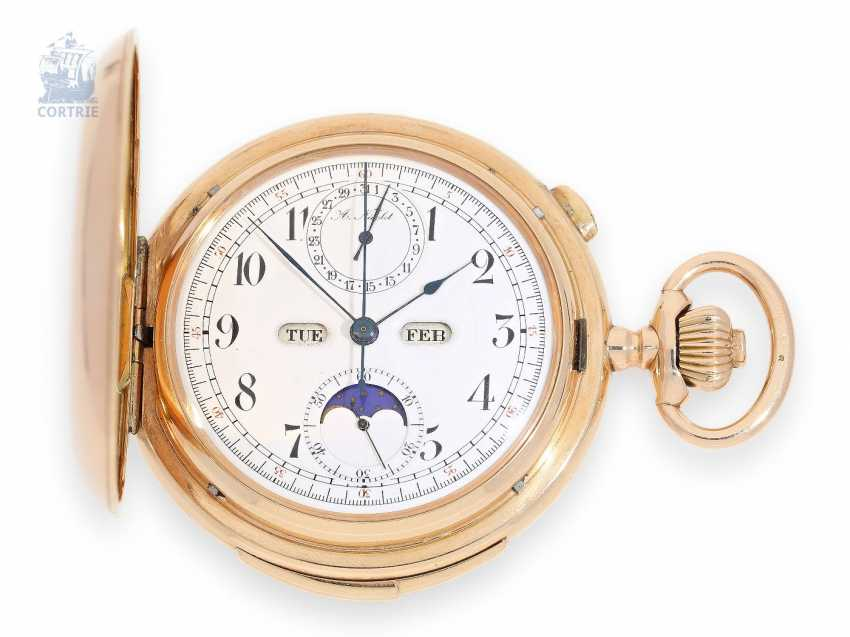 Pocket watch: heavy and high fine, red-gold Savonnette with 6 complications, A. Nicolet, Les Ponts-de-Martel, Swiss made, CA. 1900 - photo 1