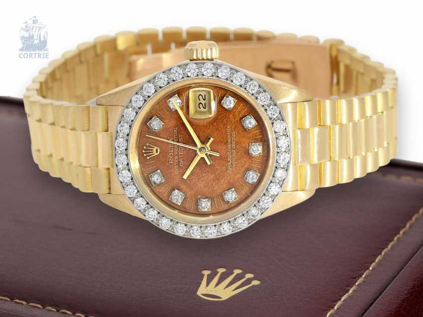 Watch: extremely rare vintage ladies watch, Rolex Datejust Ref.6913 with rosewood dial and diamonds, CA. 1979 - photo 1