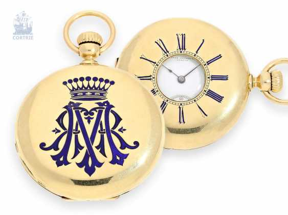 Pocket watch: rare Gold/enamel Patek Philippe half-savonnette No. 23294, from the former possession of the counts of Geneva in 1865 - photo 1
