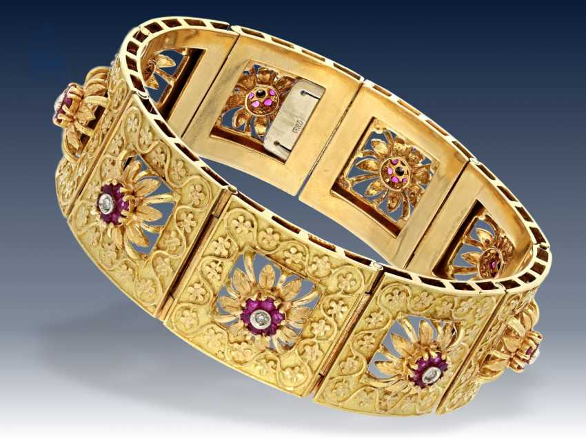 Bracelet Exquisite Formerly Very Expensive Vintage Gold With Rubies And Diamonds