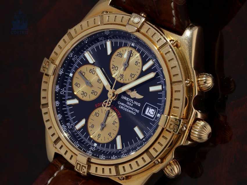 Montre-bracelet: très rare édition limitée Breitling Chronographe en Or 18 carats, Chronomètre par vent de travers Limitee No 046/100 avec boite et Papiers, Full Set) - photo 1