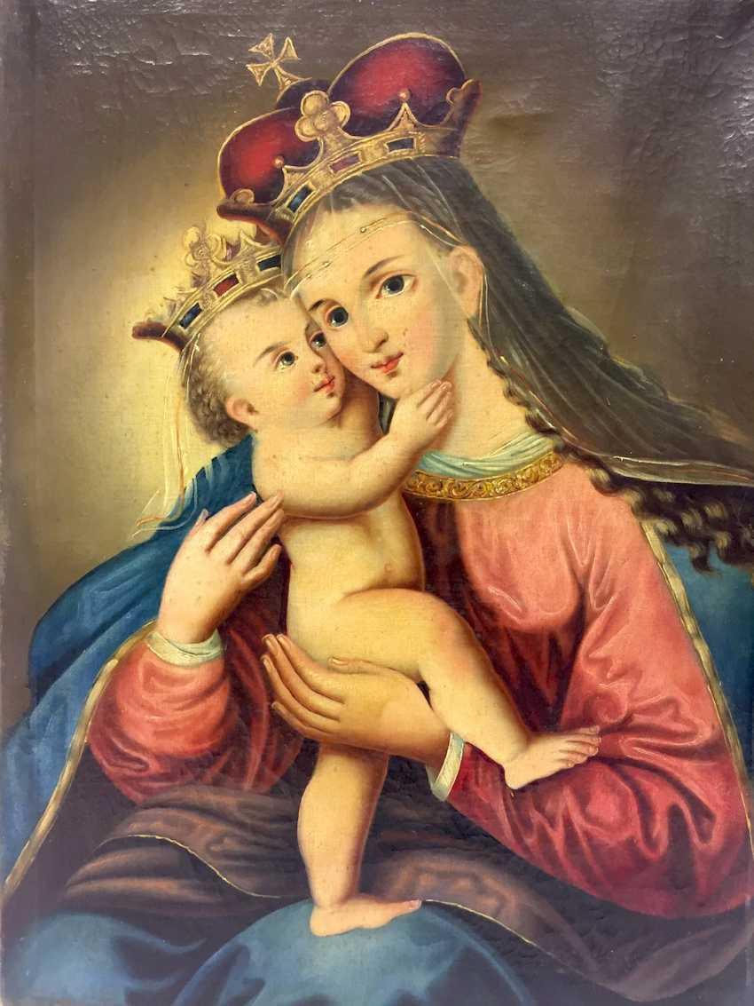Deutscher Künstler: Muttergottes / Maria mit Jesus, Öl auf Leinwand ...