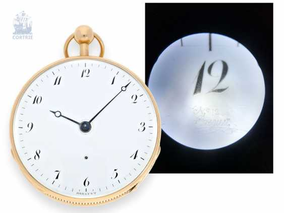"""Pocket watch: important man's pocket watch with jumping hour and quarter-hour repetition """"Repetition à Ponts"""", as well as rare comma escapement, Breguet No. 1244, 1805 - photo 1"""