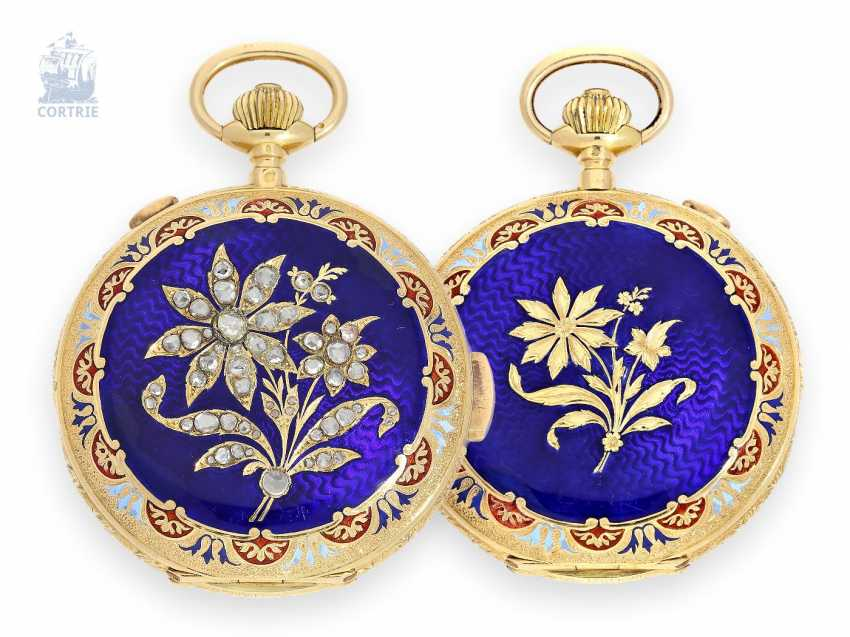 Pocket watch: unusual Gold/enamel-Savonnette with a rich diamond trim, minute Repetition and Chronograph, Invicta Swiss for the Indian market, around 1900 - photo 1