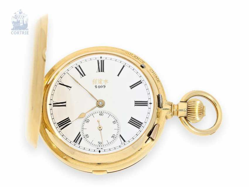 """Pocket watch: extremely rare gold savonnette for the Chinese market, Grande Sonnerie Carillon, in mint condition, """"HOPE BROTHERS CO. SHANGHAI, GRANDE SONNERIE CLOCK WATCH with TRIP MINUTE REPEATER"""", Geneva, circa 1890 - photo 1"""