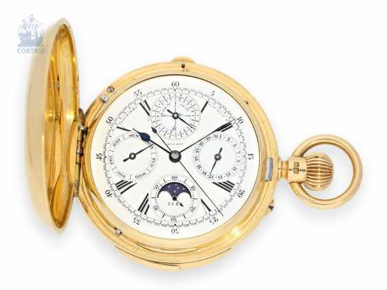 Pocket watch: important English gold savonnette with 7 complications, and true perpetual calendar, Henry Lewis London No. 1525 to 1890 - photo 1