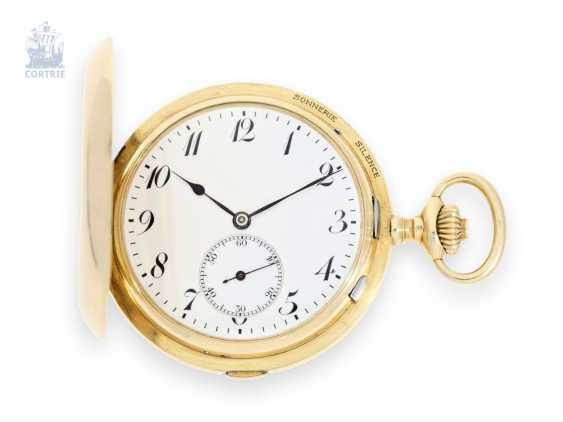 """Pocket watch: extremely rare and highly complicated César Racine gold savonnette """"Repetition à Minutes Grande Sonnerie & Carillon"""", Switzerland, around 1910 - photo 1"""