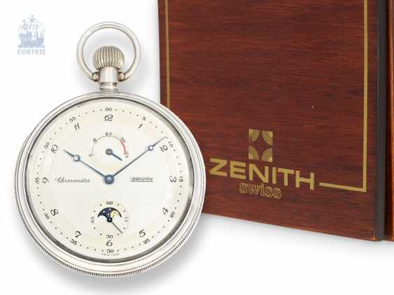 Pocket watch: high-quality, probably unworn Zenith Deck Chronometer 5011 with moon phase and power reserve, Ref.070050.145, with original box, papers and chronometer certificate - photo 1