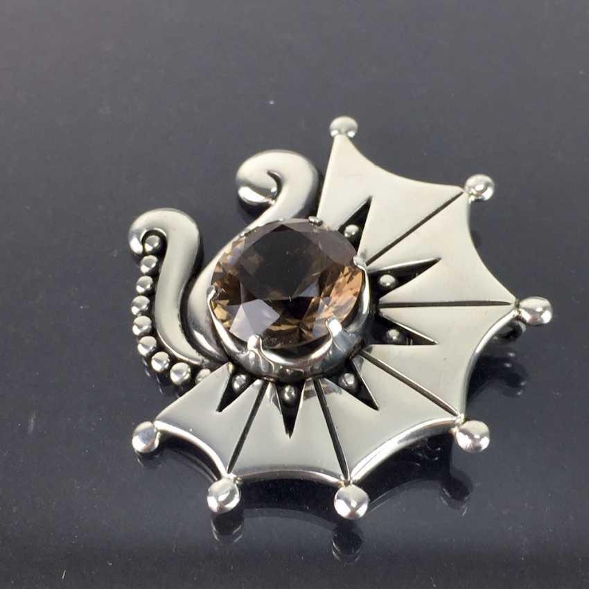 Sehr Große Designer Blüten Brosche Aus 925 Sterling Silber Antiquitäten & Kunst