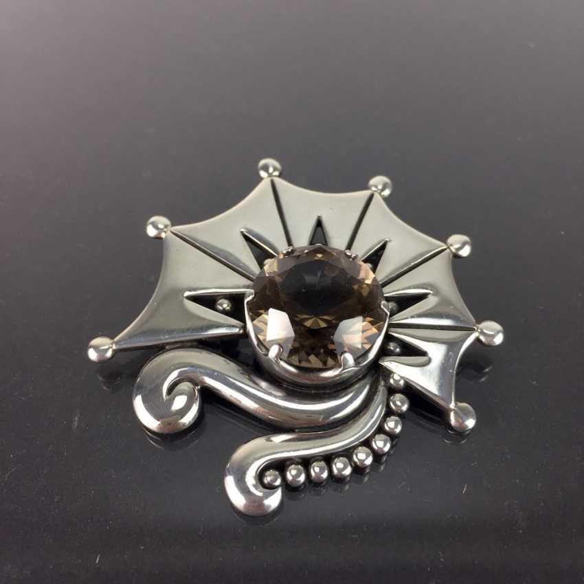 Silber Antikschmuck Sehr Große Designer Blüten Brosche Aus 925 Sterling Silber