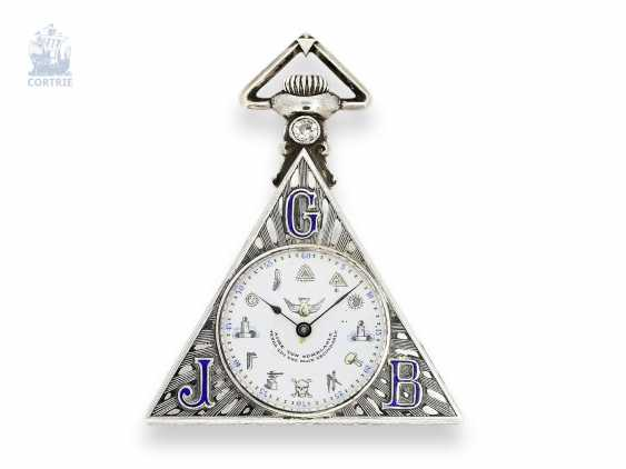 Pocket watch: rare Masonic pocket watch, Tempor Watch co., Switzerland around 1930, silver/enamel case of the Holy Frères - photo 1