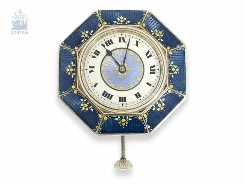 "Table clock/Desk clock: an exceptional and very fine Art Nouveau enamel ""Desk Watch"", Switzerland, around 1920 - photo 1"