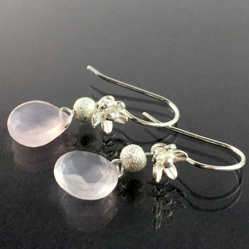 Beautiful earrings with rose quartz, silver 925, handcrafted. - lot 5134