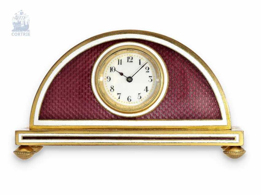 Table clock: exquisite Guilloche enamel Desk clock, C. 1910, fine Art Nouveau Cabinet in excellent condition - photo 1