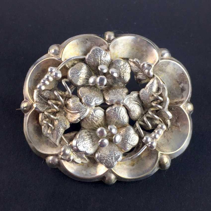 Schmuck & Accessoires Handarbeit Große Blüten Brosche Mit Steinen Aus 900 Silber