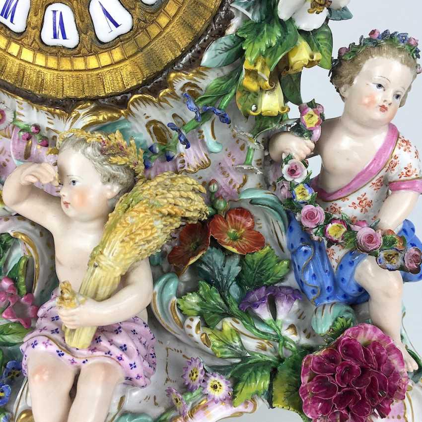 Beautiful pendulum clock / mantel clock / Portaluhr / Aufsatzuhr: Meissen porcelain 'Four seasons', around 1860, 1. Choice - photo 6
