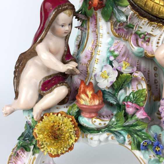 Beautiful pendulum clock / mantel clock / Portaluhr / Aufsatzuhr: Meissen porcelain 'Four seasons', around 1860, 1. Choice - photo 9