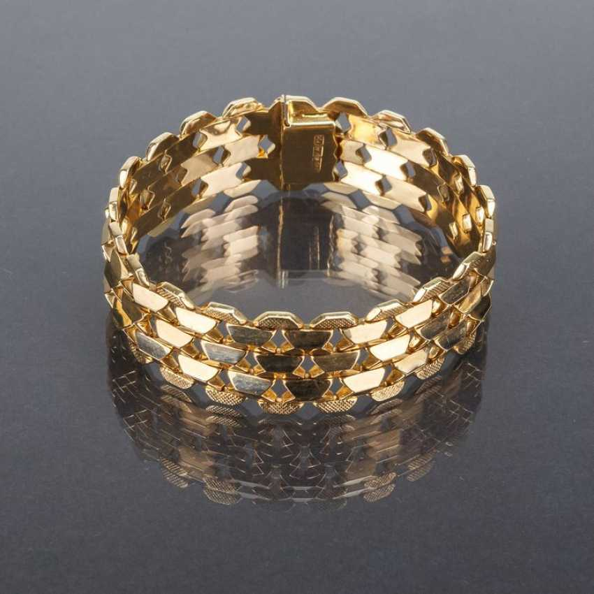 Things to see, wide Gold bracelet, yellow gold 750 / 18 carats, and its luxury brand, Franklin Mint, very elegant and beautiful. - photo 1