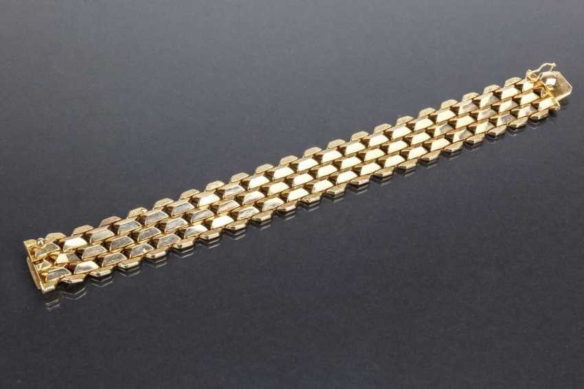 Things to see, wide Gold bracelet, yellow gold 750 / 18 carats, and its luxury brand, Franklin Mint, very elegant and beautiful. - photo 2