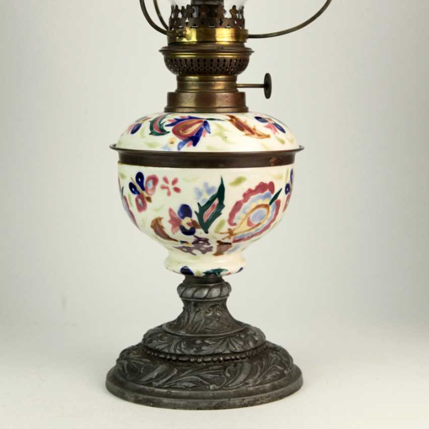Majolica lamp, Petroleum-ceramic lamp with cast iron feet and glass ...