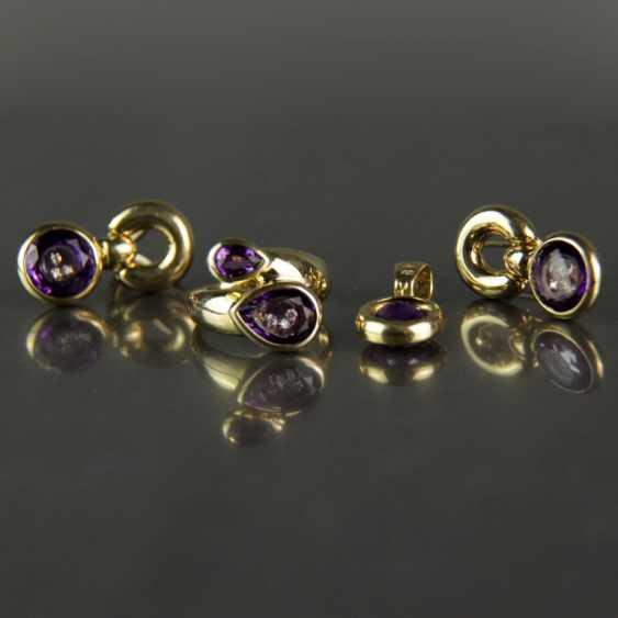 Besonderes Schmuck-Set, Chopard-Stil / Happy-Diamonds-Stil, Gelbgold 750, Amethyst und Brillanten - photo 5