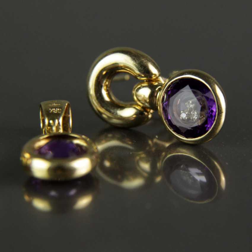 Besonderes Schmuck-Set, Chopard-Stil / Happy-Diamonds-Stil, Gelbgold 750, Amethyst und Brillanten - photo 4