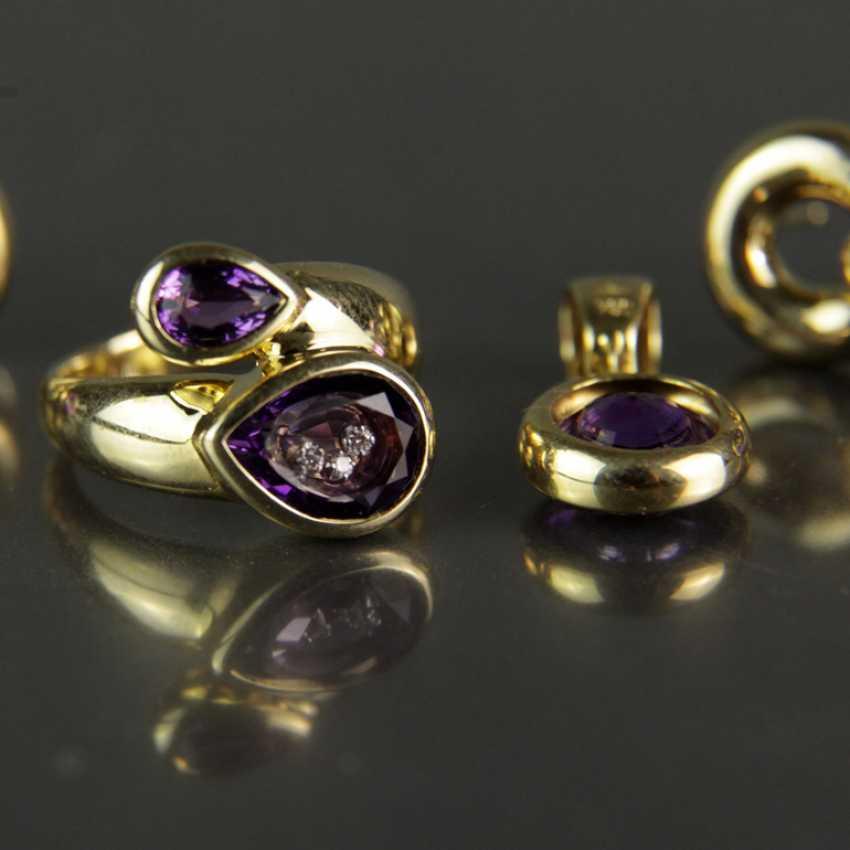Besonderes Schmuck-Set, Chopard-Stil / Happy-Diamonds-Stil, Gelbgold 750, Amethyst und Brillanten - photo 2