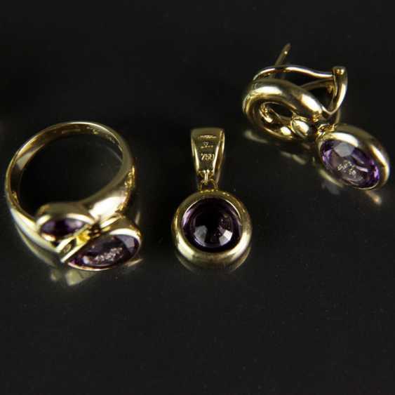 Besonderes Schmuck-Set, Chopard-Stil / Happy-Diamonds-Stil, Gelbgold 750, Amethyst und Brillanten - photo 3