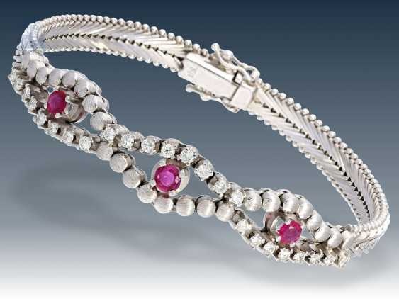 Bracelet: decorative vintage ruby/brilliant bracelet, 18K white gold - photo 1