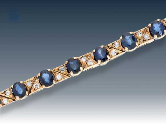 Bracelet: antique, fine, and very beautiful, Golden-red sapphire/diamond bracelet - photo 1