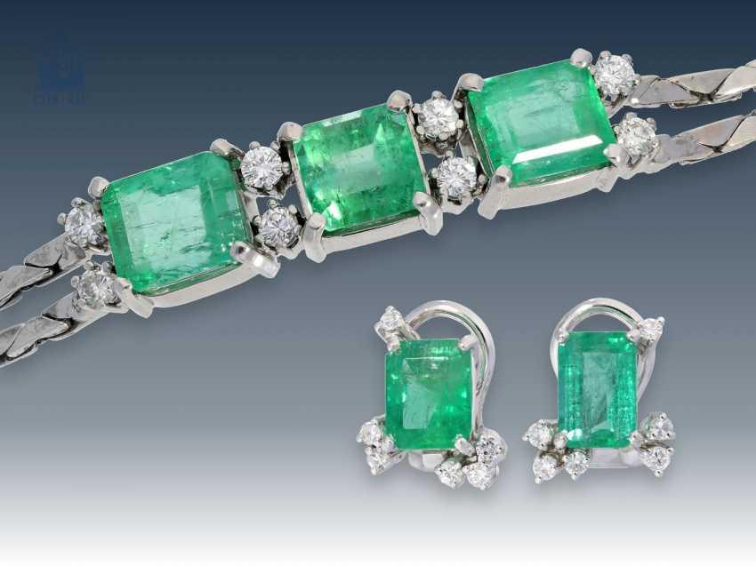 Bracelet/earrings: white gold, decorative vintage emerald/brilliant bracelet with matching clip earrings, 14K white gold - photo 1