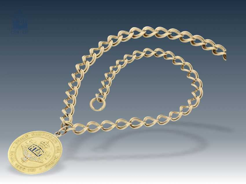 Chain/pendant: antique gold necklace with a rare pendant, a gold medal of 1. Fitav world Cup in Schießen1930 in Rome, 18K Gold - photo 1