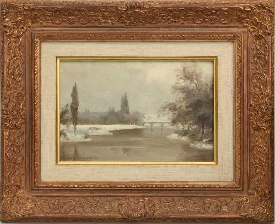"""NIKOLAI GERHARD VON GRÜNEWALDT,""""Winterliche Flusslandschaft"""", Öl auf Pappe, gerahmt, signiert und datiert - Foto 1"""