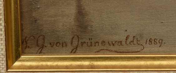 """NIKOLAI GERHARD VON GRÜNEWALDT,""""Winterliche Flusslandschaft"""", Öl auf Pappe, gerahmt, signiert und datiert - Foto 2"""