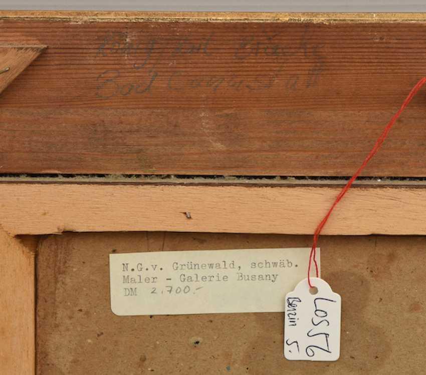 """NIKOLAI GERHARD VON GRÜNEWALDT,""""Winterliche Flusslandschaft"""", Öl auf Pappe, gerahmt, signiert und datiert - Foto 4"""