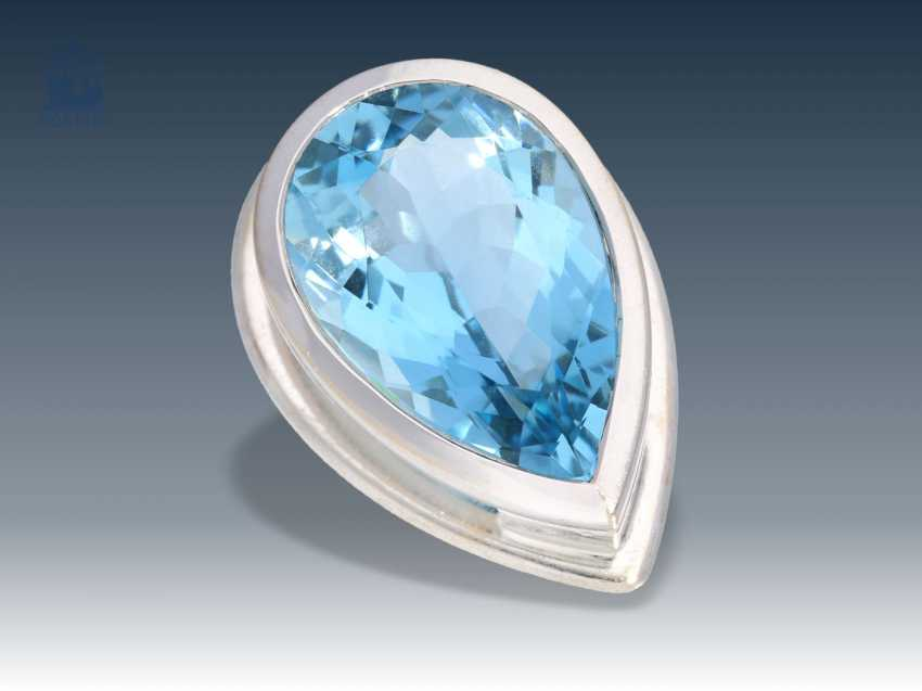 Trailer: high quality, white gold pendant with a beautiful aquamarine in the form of drops, 6ct - photo 1
