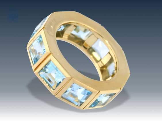Ring: modern and exceptionally crafted gold ring with Aqua marine, 18K Gold forging - photo 1