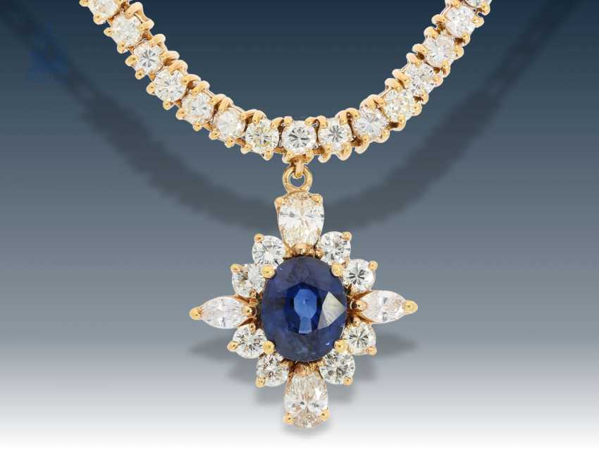 Necklace/Collier: fine, elegant vintage sapphire/diamond necklace,18K Gold - photo 1