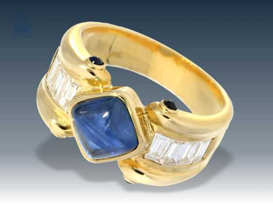 Ring: fashionable, extraordinary and attractive sapphire/brilliant-wrought gold ring, 18K - photo 1
