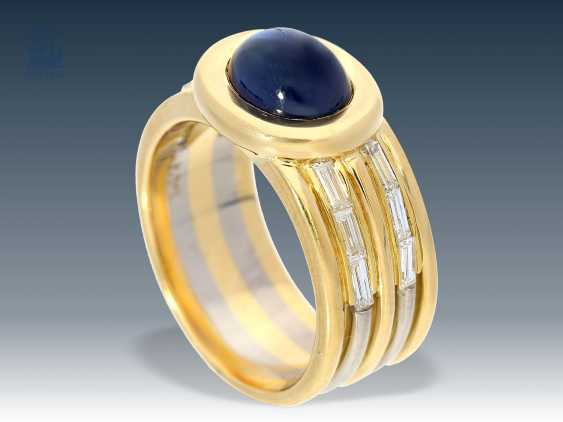 Ring: high-fine, valuable sapphire/diamond gold forged ring, 18K Gold - photo 1