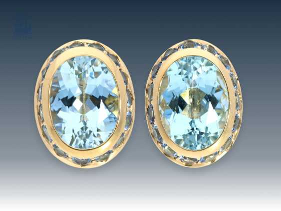 Cufflinks: exquisite goldsmith's made with ultra-fine Aqua-marine, brand jewelry - photo 1